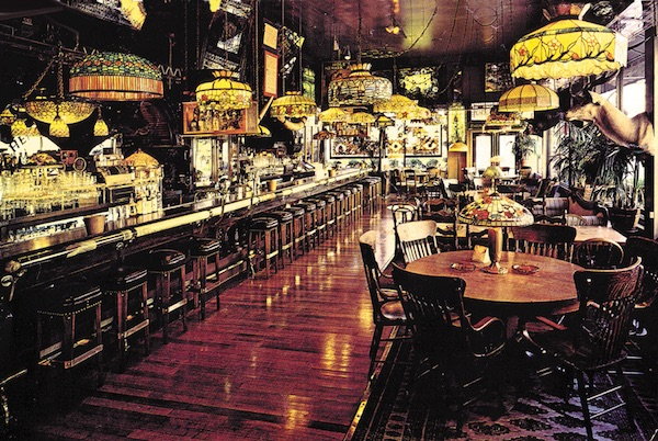 Norman Jay Hobday, a.k.a. Henry Africa, filled his iconic fern bar with stained glass, plants, and taxidermy.. (Via Berkshire Design and Fabrication)