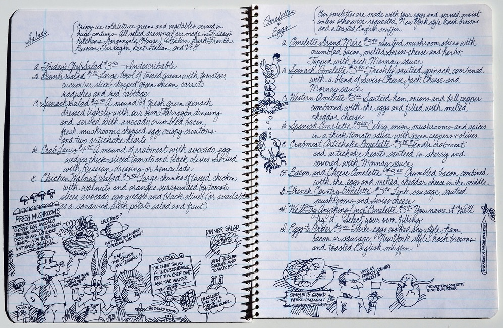 In the '70s and early '80s, Friday's menus were produced to look like they were handwritten in composition notebooks, with doodles in the margins. Click on the image to see a larger version of this example from 1980. (Courtesy of Bob Treat)