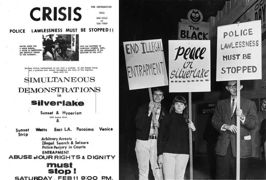 A flier and photograph from the February 1967 demonstrations against a police raid of the Black Cat Tavern in Los Angeles. (Via Wikimedia)