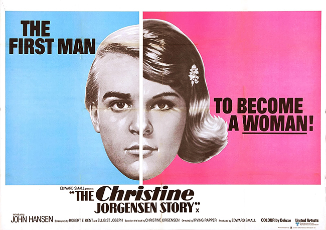 "A poster for the 1970 film ""The Christine Jorgensen Story"" with its erroneous tagline."