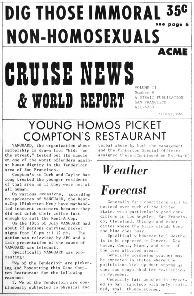 "A short article on the Vanguard protest at Compton's Cafeteria appeared in the gay newspaper ""Cruise News & World Report"" in August of 1966. (Click to enlarge)"