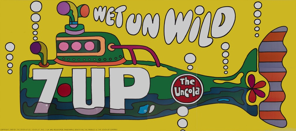"This is not ""The Yellow Submarine""! Instead, 1969's ""Wet Un Wild"" shows a green 7Up bottle submarine, and it was designed by Ed George at the J. Walter Thompson advertising company. (Courtesy of Bob Treat)"