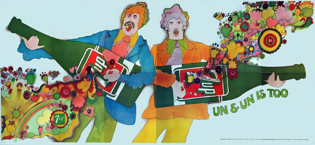 "In Kim Whitesides' ""Un & Un Is Too,"" stand-ins for John Lennon and Paul McCartney make psychedelic magic with their 7Up-bottle guitars. This billboard was also posted in time for Woodstock in 1969. (Courtesy of Bob Treat)"