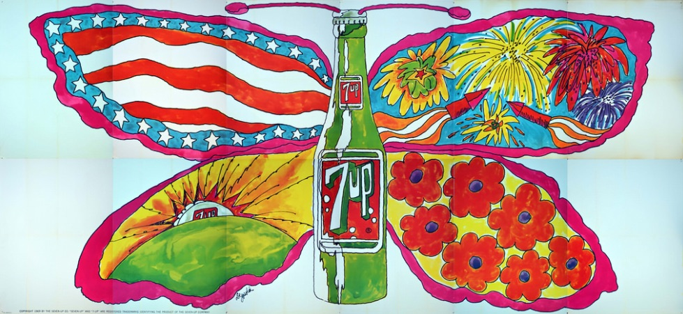 "Top: John Alcorn's UnCola billboard ""Uncanny in Cans"" has both ""the girl with kaleidoscope eyes"" and the peace dove of the antiwar movement. Above: Pat Dypold's ""Butterfly & Bottle"" turns a soda bottle into a psychedelic butterfly. Both billboards would have been seen on the highways leading to Woodstock in 1969. (Courtesy of Bob Treat)"