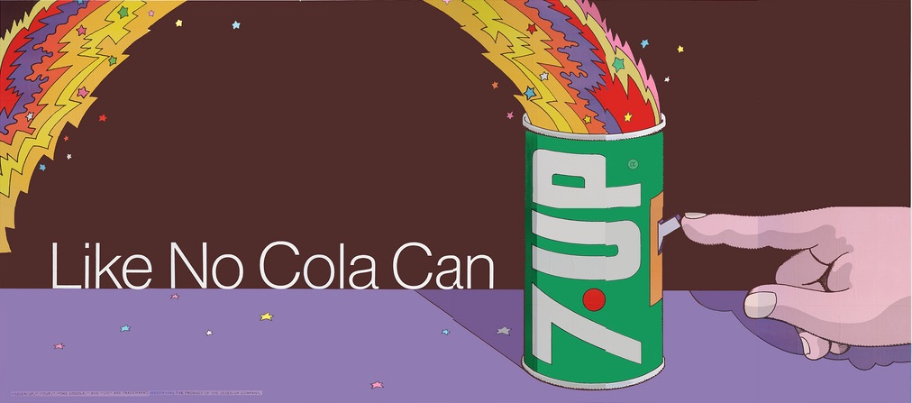 "Psychedelic graphics guru Milton Glaser, co-founder of the Push Pin Studios, designed this 1971 UnCola billboard, ""Like No Cola Can"" in Pop Art style.  (Courtesy of Bob Treat)"