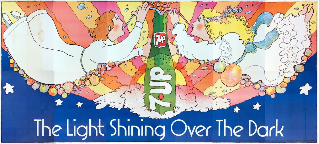 "Pat Dypold's 1971 billboard, ""The Light Shining Over the Dark,"" references the Bible and is the only UnCola billboard featuring a translucent 7Up bottle. (Courtesy of Bob Treat)"