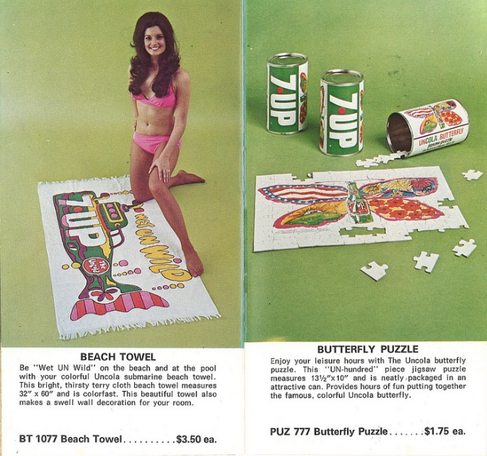 UnCola billboard images also were used to produce advertising premiums such as beach towels and puzzles, like these items offered in a 1973 7Up catalog. Click here to peruse the whole catalog. (Courtesy of Bob Treat)
