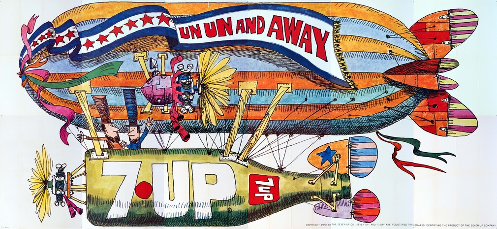 "Bob Taylor, the in-house art director at JWT advertising company, designed this 1970 dirigible-themed UnCola billboard, ""Un Un and Away."" (Courtesy of Bob Treat)"