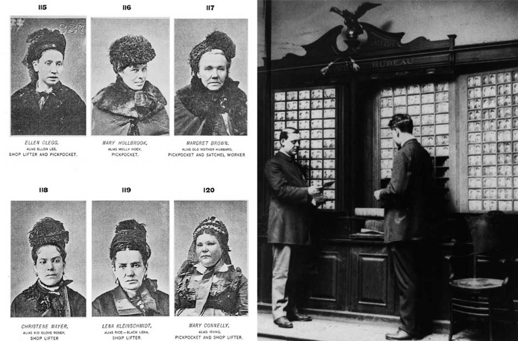 Left, a page from Byrnes' 1886 book, <em>Professional Criminals of America</em>. Right, the New York City Police Department's rogues gallery, as seen in 1909. Via Wikimedia. (Click to enlarge)