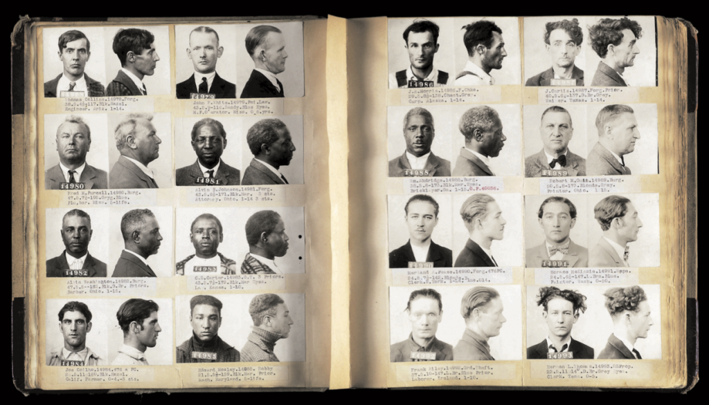 Mugshots in a police ledger from San Francisco, circa 1930s. Courtesy of Mark Michaelson. (Click to enlarge)