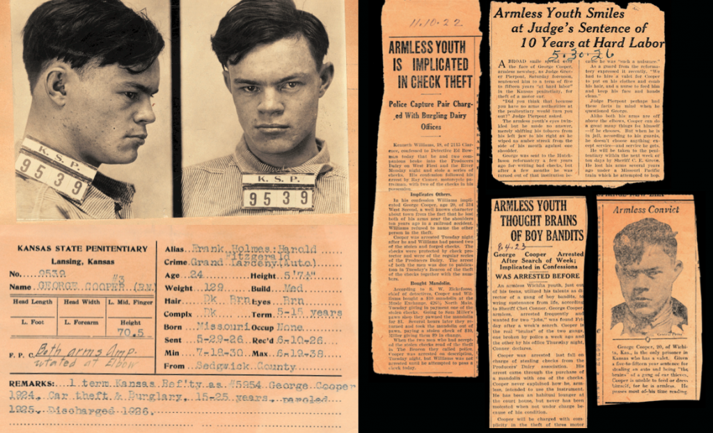 The official record and mugshot for the armless George Cooper, along with newspaper clippings from the 1920s. Courtesy of Mark Michaelson. (Click to enlarge)