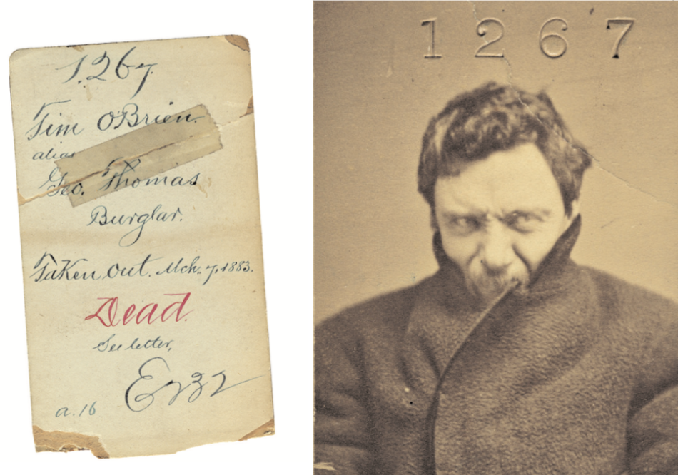 """The back side of this ominous photo of Tim O'Brien includes a cryptic note about being """"Taken out March 7, 1883."""" Courtesy of Mark Michaelson."""
