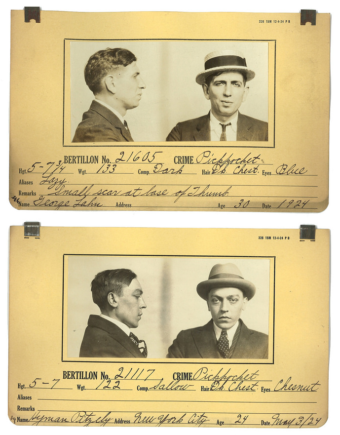 Some of Michaelson's mugshots are attached to cards patented by Alphonse Bertillon.