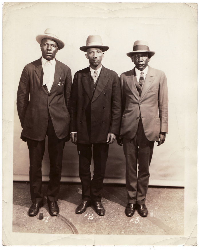 An undated photo of three men, identified only as #1, #2, and #3.