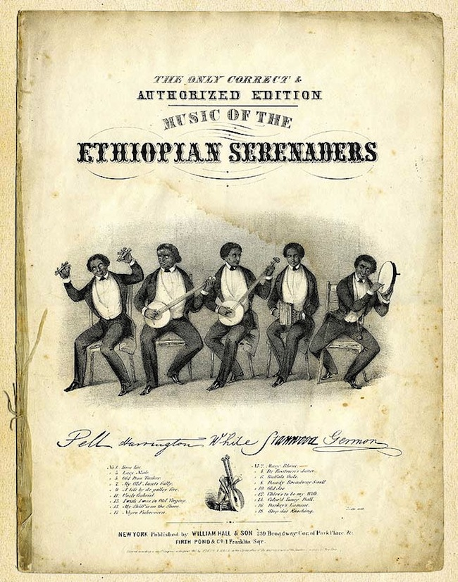 Sheet music for the Ethiopian Serenaders from 1847. Via Old Hat Records.