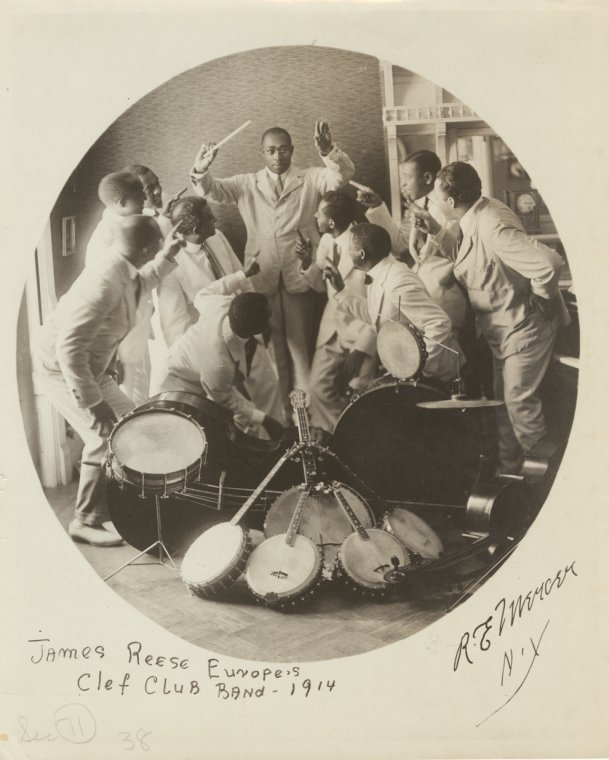 James Reese Europe and the Clef Club Band, 1914.