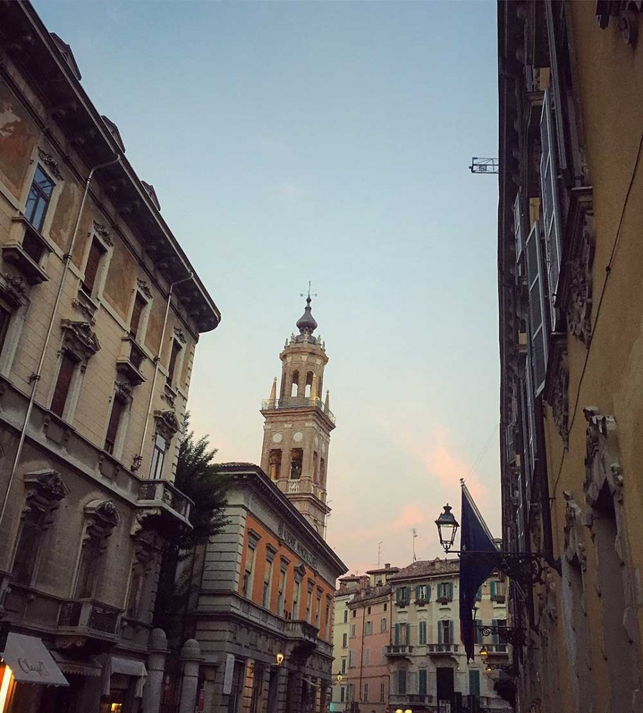 Dusk in Parma's medieval center.