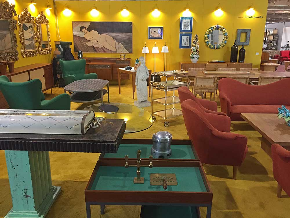 Mid Century Modern furniture on view at Nicola Quadri's booth.