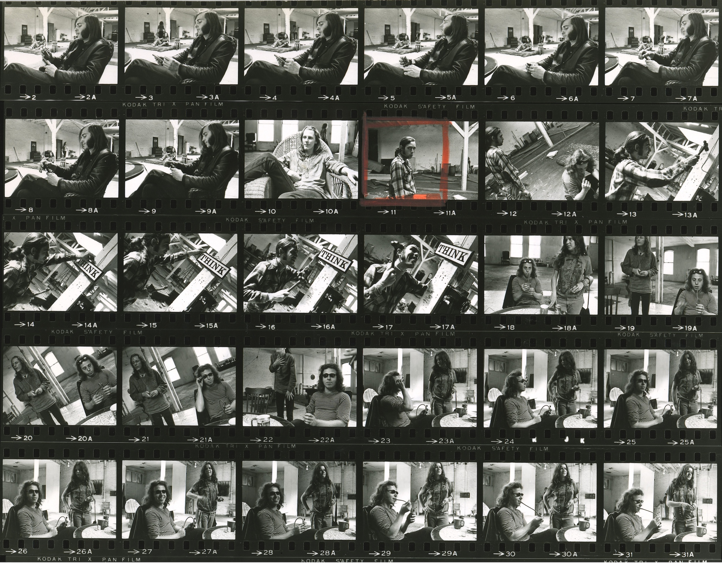 One of dozens of proof sheets of black-and-white photographs taken by the band's friend and resident photographer, Bob Seidemann.