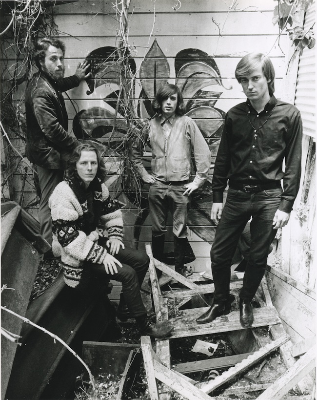 Big Brother and the Holding Company in the spring of 1966 behind the Old Spaghetti Factory, where drummer Dave Getz (far left) worked part time.