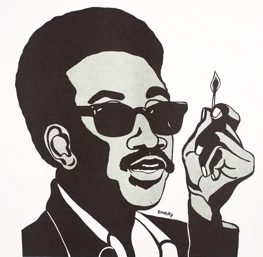 Black Panther artist Emory Douglas created this 1967 image of H. Rap Brown, a chairman of the Student Nonviolent Coordinating Community, who became a leader of the BPP when the two groups formed a brief alliance. (Courtesy of the Oakland Museum of California, All of Us or None Archive)