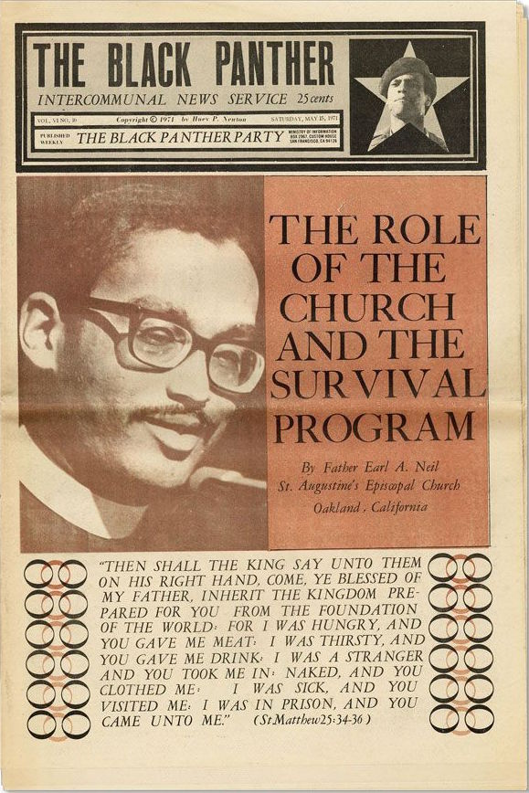"Father Earl A. Neil of St. Augustine's Episcopal Church in Oakland supported the Black Panthers' ""Survival Program."" (Via eBay)"