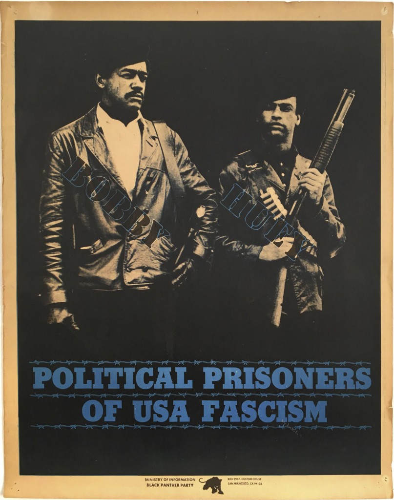 Bobby Seale, left, and Huey P. Newton wear berets and brandish guns on a Black Panther Party political poster. (Via eBay)