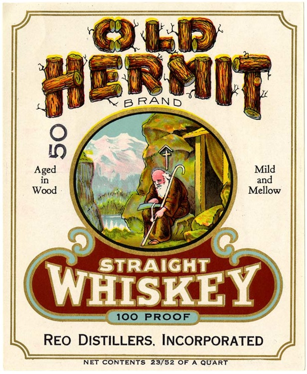 Whiskey label, Old Hermit Brand straight whiskey, Reo Distillers