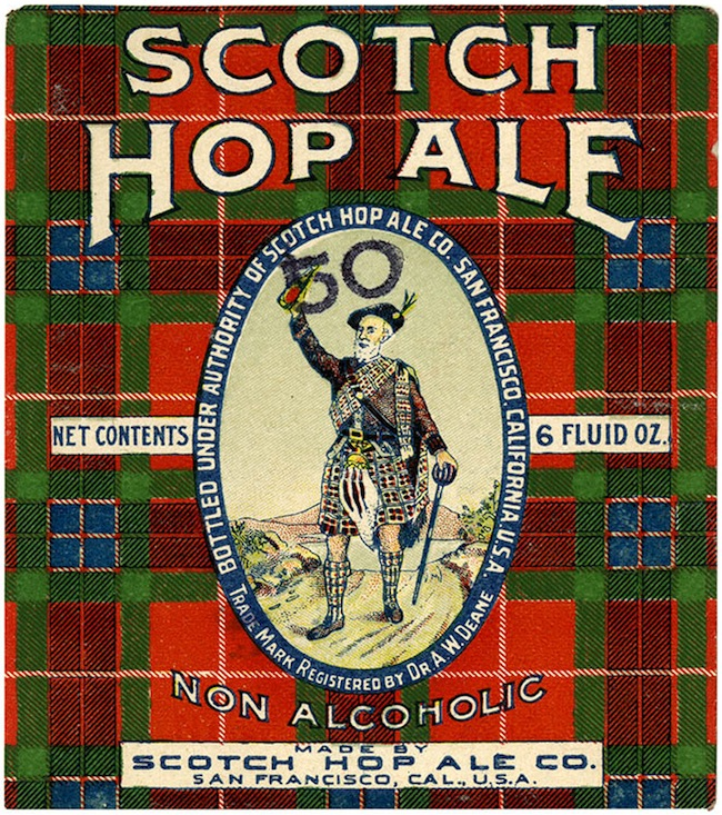 Beer label, Scotch Hop Ale, Scotch Hop Ale Co., San Francisco, C