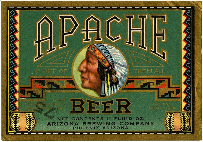 Beer label, Apache beer, Arizona Brewing Company, Phoenix, Arizo