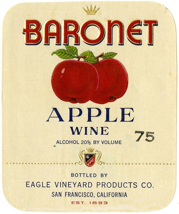 Wine label, Eagle Vineyard Products Co., Baronet Apple Wine