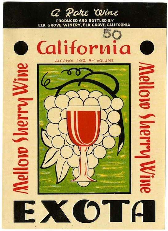 Wine label, Elk Grove Winery, California Mellow Sherry Wine