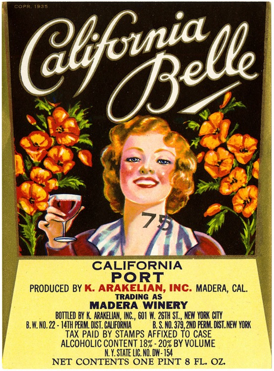 Wine label, K. Arakelian Inc., California Belle, California Port