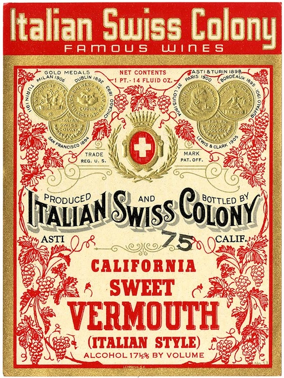 Wine label, Italian Swiss Colony California sweet vermouth, Ital