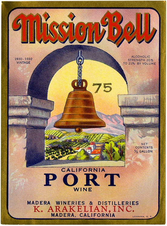 Wine label, Mission Bell California port wine, K. Arakelian, Inc