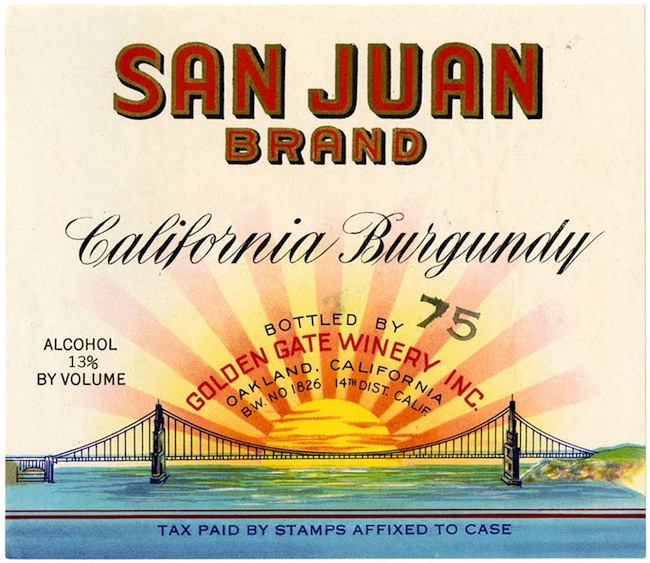 Wine label, San Juan Brand California Burgundy, Golden Gate Wine