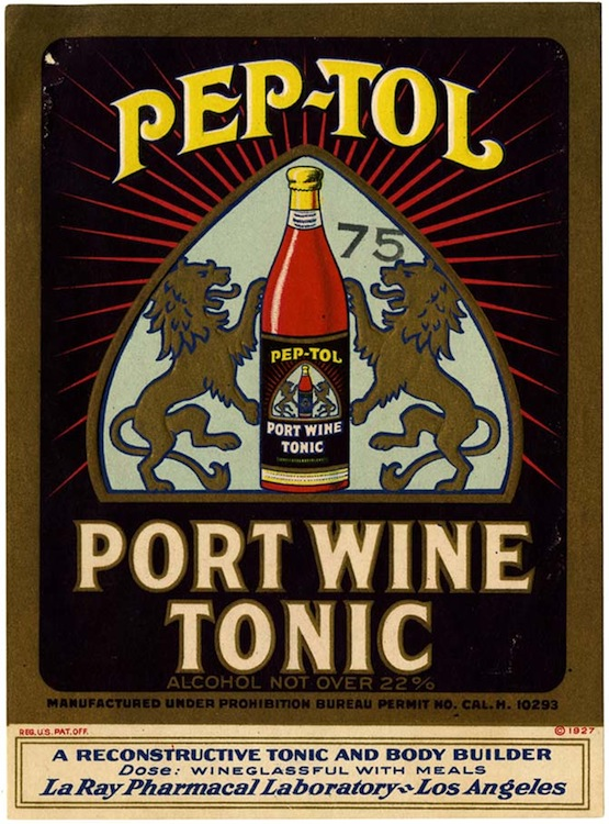 Tonic label, Pep-Tol port wine tonic, La Ray Pharmacal Laborator