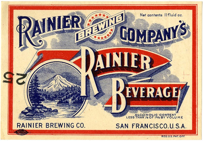 Beer label, Rainier beverage, Rainier Brewing Co., San Francisco