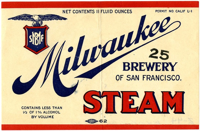 Beer label, Milwaukee Steam, Milwaukee Brewery of San Francisco