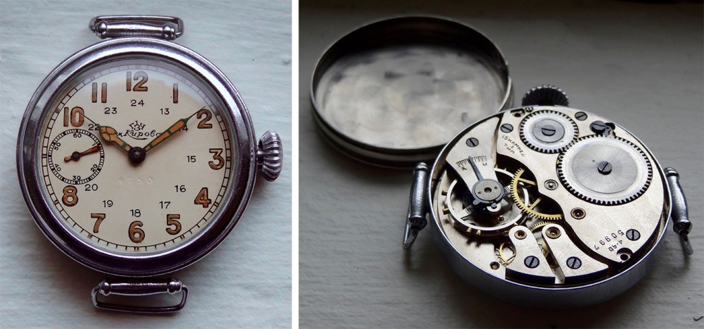 The exterior and interior of a military-issue Type-1 wristwatch with 15 jewels made at the First State Watch Factory in 1940.