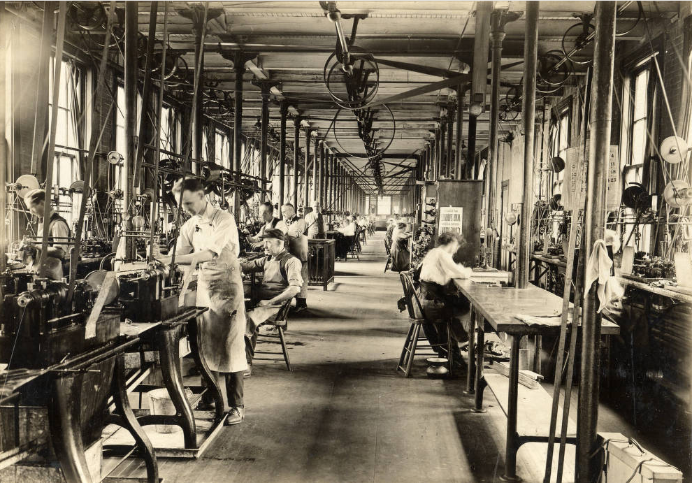 "Employees at work in the Canton, Ohio, factory of the Dueber-Hampden Watch Company, circa 1900. Used by permission from the  <a href=""http://mckinleymuseum.org/"" target=""_blank"">McKinley Presidential Library & Museum</a>, Canton, Ohio."