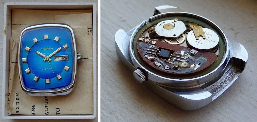A Chaika 3050, the first quartz movement ever produced in the Soviet Union.