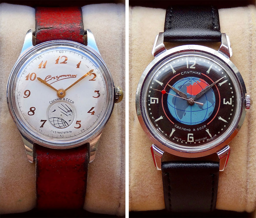 Left, this watch made at Chistopol in the late 1950s features a rotating Sputnik cutout to count the seconds. Right, another space watch from the same era with a painted globe dial and rocket-shaped hour markings.