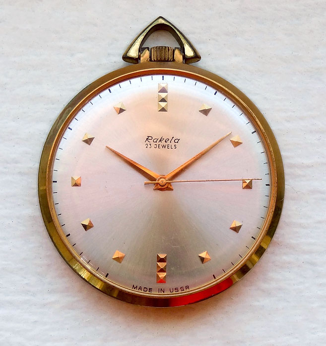 This 1960s Raketa pocket watch is powered by the thinnest three-handed watch movement ever produced in the USSR.