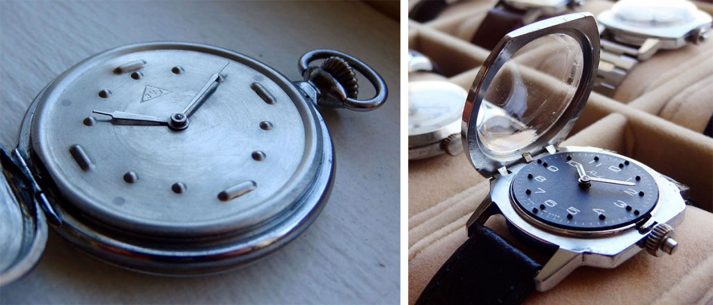 Left: An early Braille watch made at the Zlatoust Watch Factory, circa 1954. Right: A Braille Raketa made in the 1970s featuring a retractable crystal.