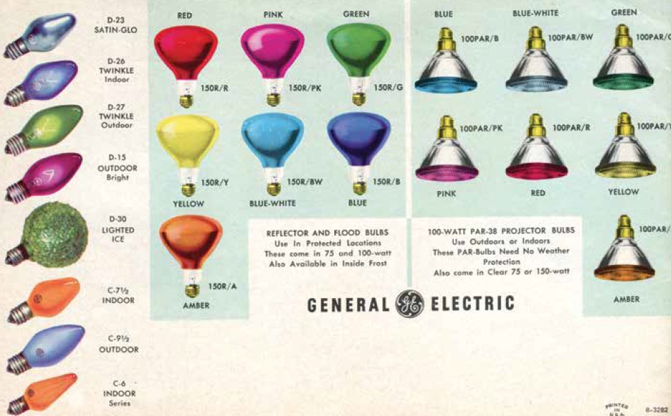"A listing of the various outdoor holiday lights General Electric offered in 1963 in ""GE Christmas Lighting and Decorating Guide."" (From Mid-Century Christmas, reproduced with permission from GE Lighting, a business of General Electric Company)"