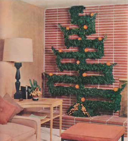 "A geometric tree made from found greenery was described in a December 1956 ""Better Homes and Gardens"" spread called  ""Decorate with Nature's gifts."" (From Mid-Century Christmas)"