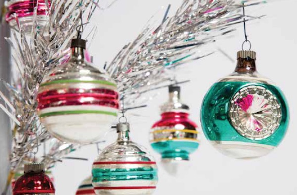 Assorted Shiny Brite ornaments from the 1950s and 1960s, shown on a vintage aluminum Christmas tree. Photo by Jeffrey Stockbridge. (From Mid-Century Christmas)