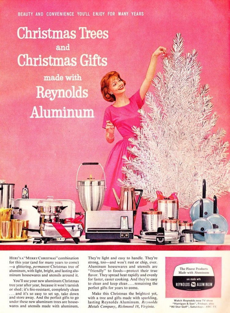 Kitchen appliances were hot gifts to put under your aluminum Christmas tree in the postwar era. This Reynolds Metals ad flaunts both. (From Mid-Century Christmas)