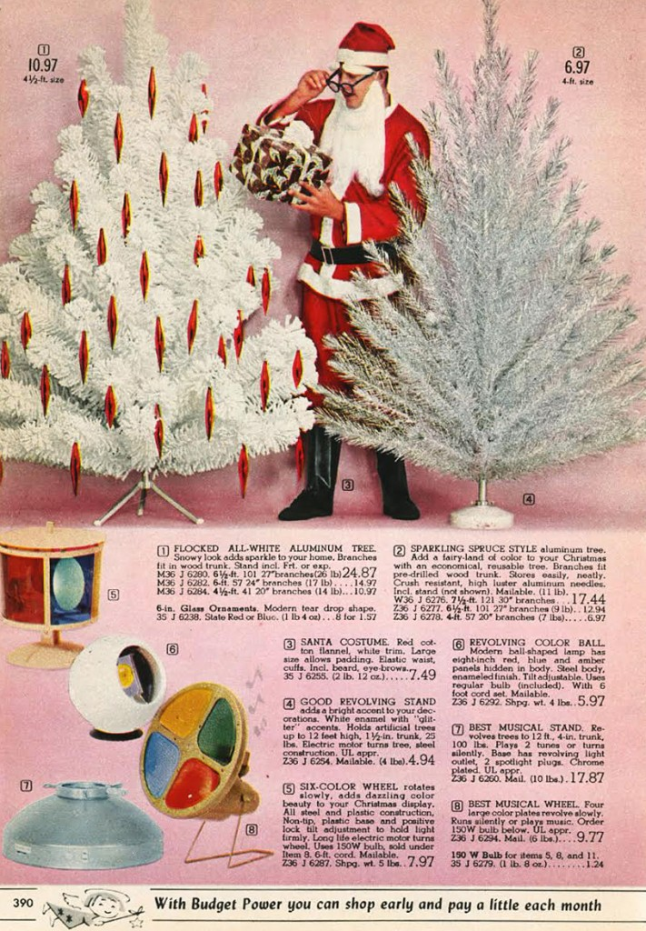 The 1962 Spiegel Christmas Catalog offered aluminum Christmas trees as well as rotating lamps to shine colors on them. (From Mid-Century Christmas)